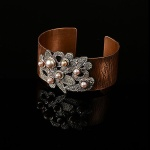 collaged pebbles cuff-copper & silver-72