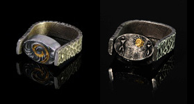 Pivot-ring by Jonna Faulkner - front and reverse. Jewelry photography by Steve Rossman