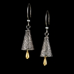 Cone with gold teardrop earrings by Jonna Faulkner. Photo by Steve Rossman