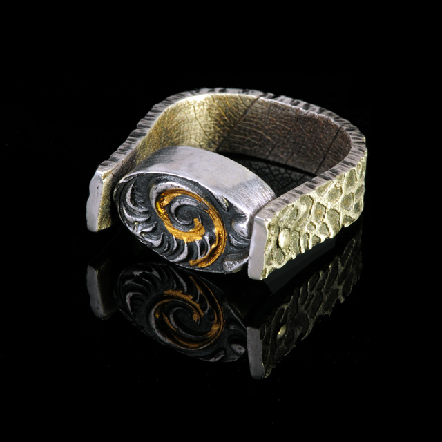 Ring with reversible top by Jonna Faulkner. Photo by Steve Rossman.