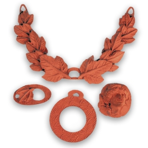 Copper medallion necklace in an ancient theme by Jonna Faulkner. Greenware. Photo by Steve Rossman.