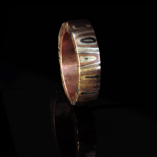 Mokume gane metal clay ring from Hadar Jacobson class