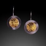 Framed Disk Earrings by Jonna Faulkner, Jewelry photography by Steve Rossman